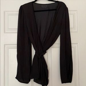 Urban Outfitters bell sleeved satin wrap top